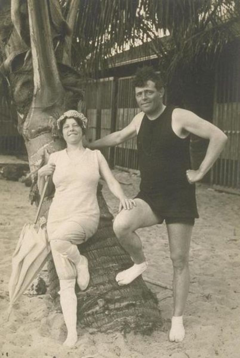 Jack London with his second wife, Charmian , on a surfing trip to Hawaii. The picture was taken in 1915, just one year before Jack died.