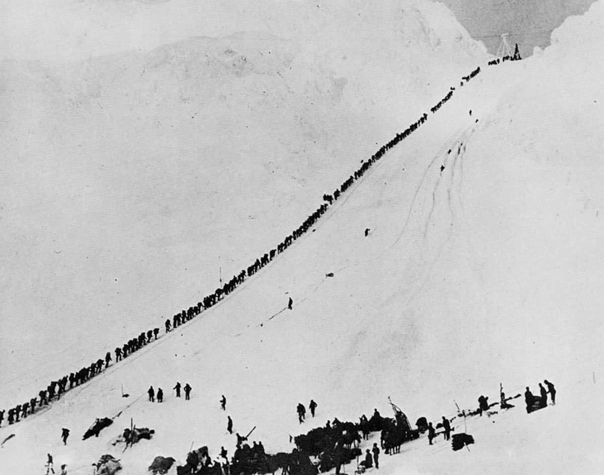 Miners hoping to prosper in the Klondike during the 1890s had to make the climb through Chilkoot  Pass in Canada,