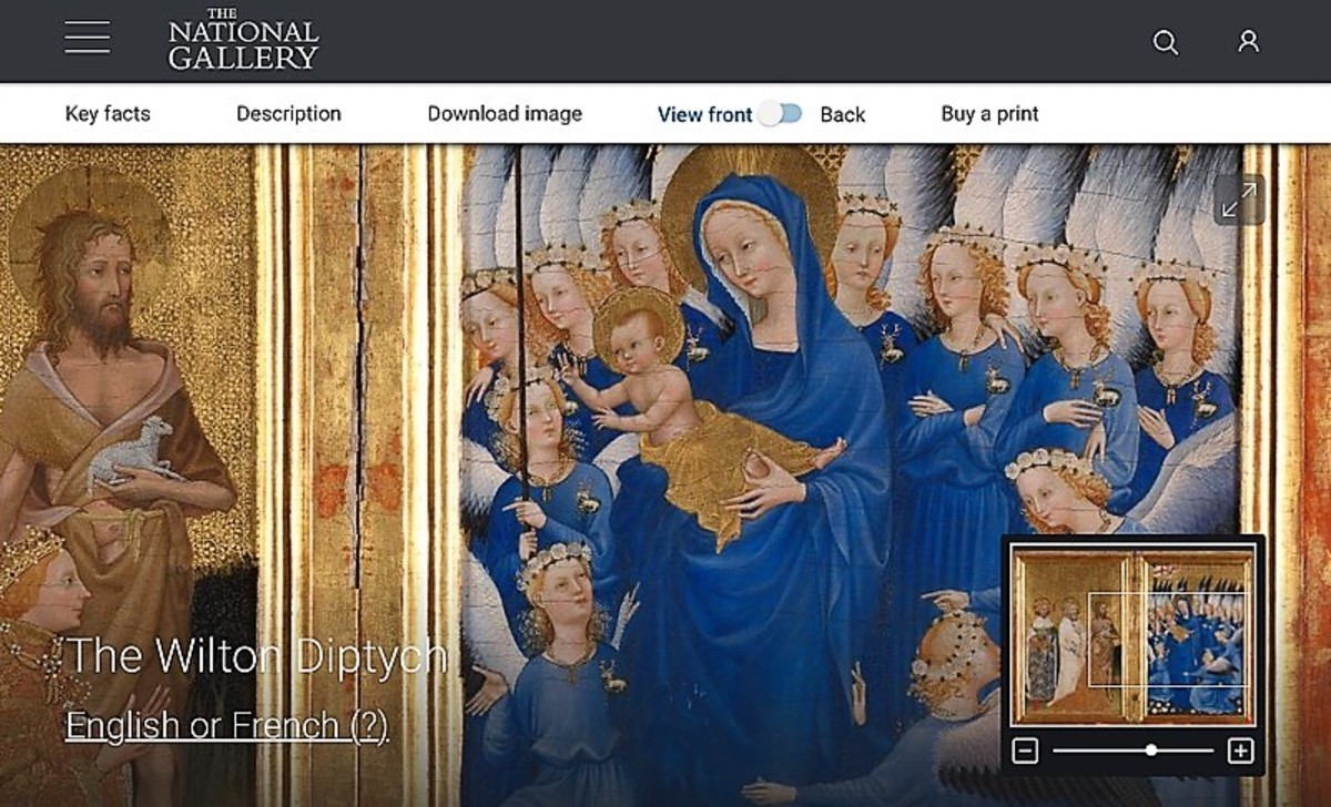 "Screenshot of the fourteenth-century ""Wilton Diptych"" on the National Gallery website"