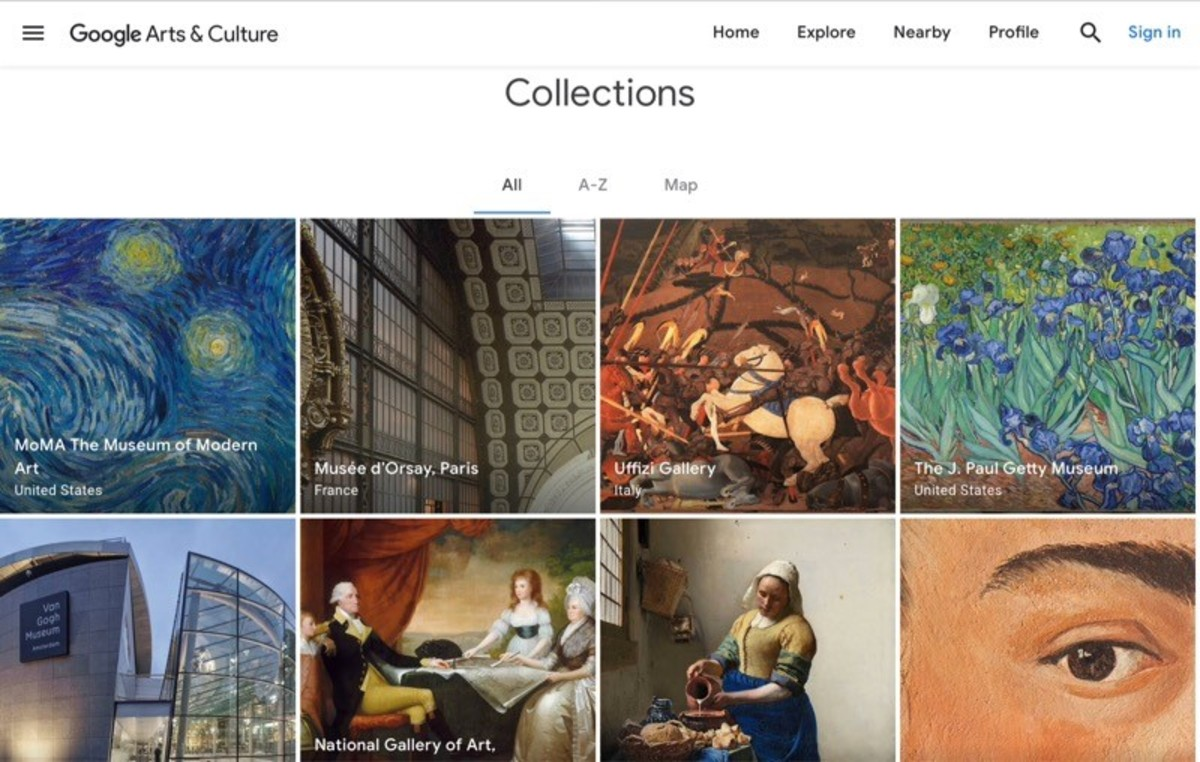 Screenshot of the Google Arts & Culture Collections page
