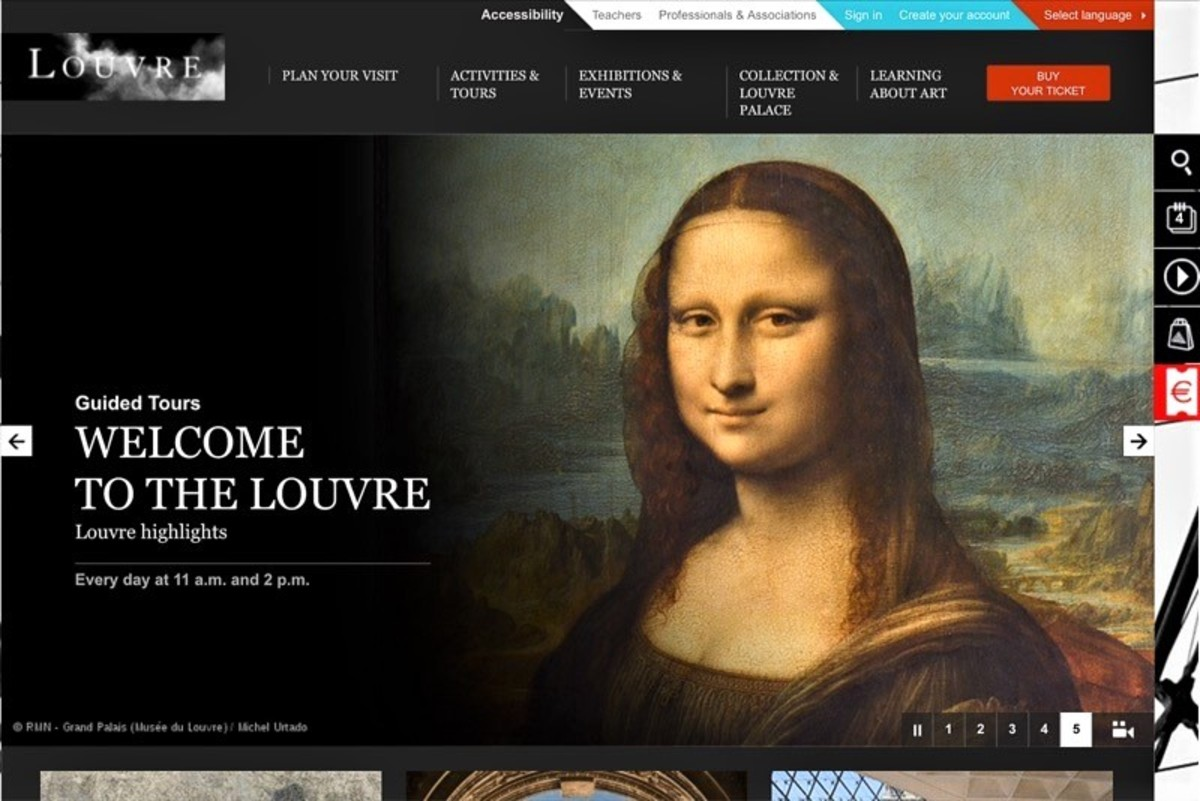 Screenshot of the Louvre website home page