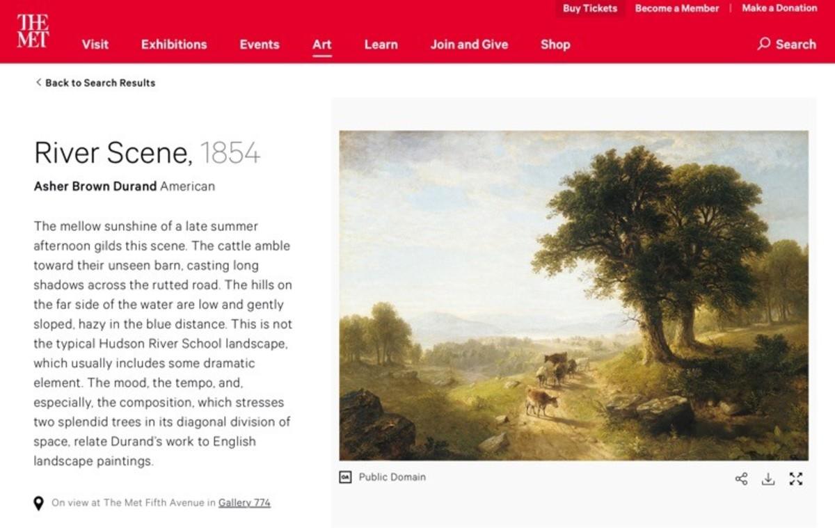 Screenshot of the Metropolitan Museum of Art website