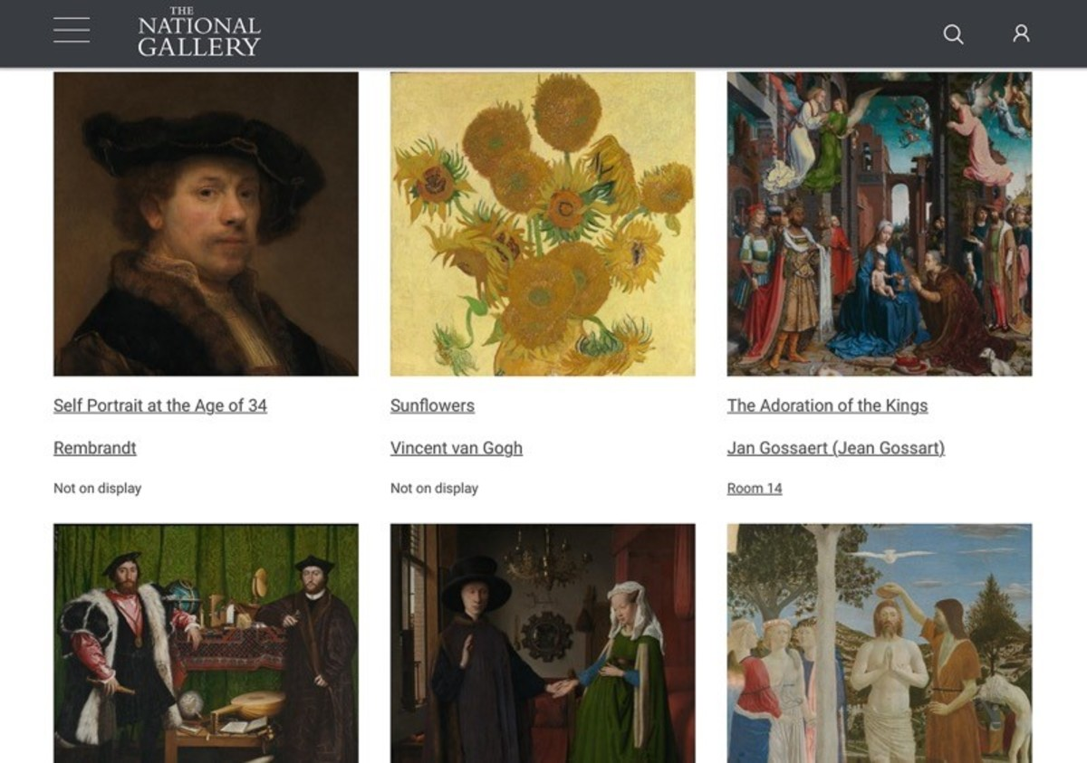 "A screenshot from the ""Highlights from the collection"" page of the National Gallery website"