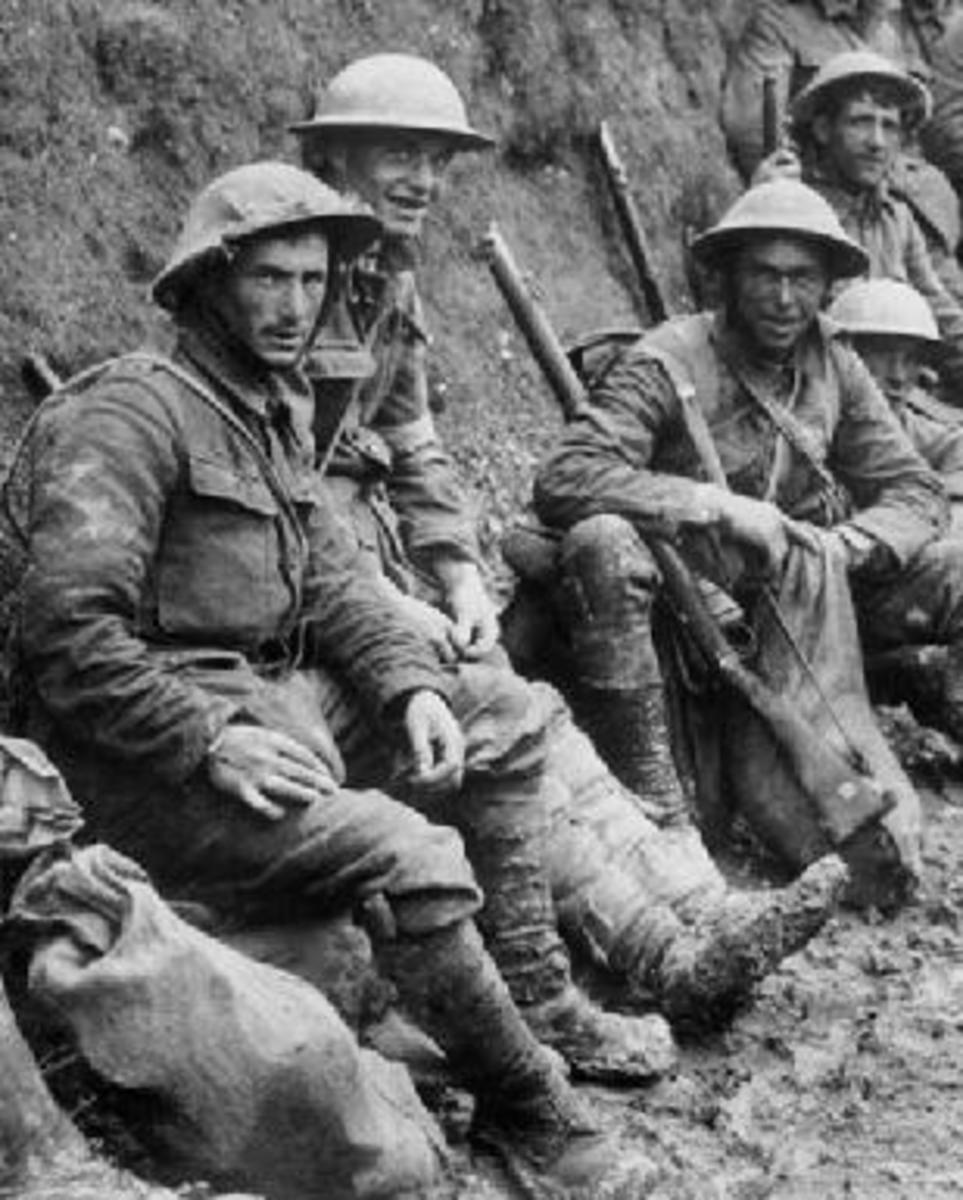 First world war troops in the trenches.