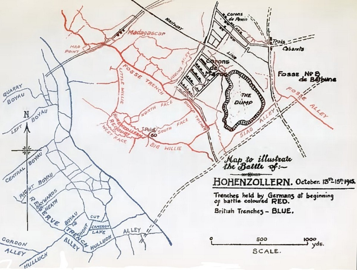WWI: Trench map depicting the Hohenzollern Redoubt in October 1915.