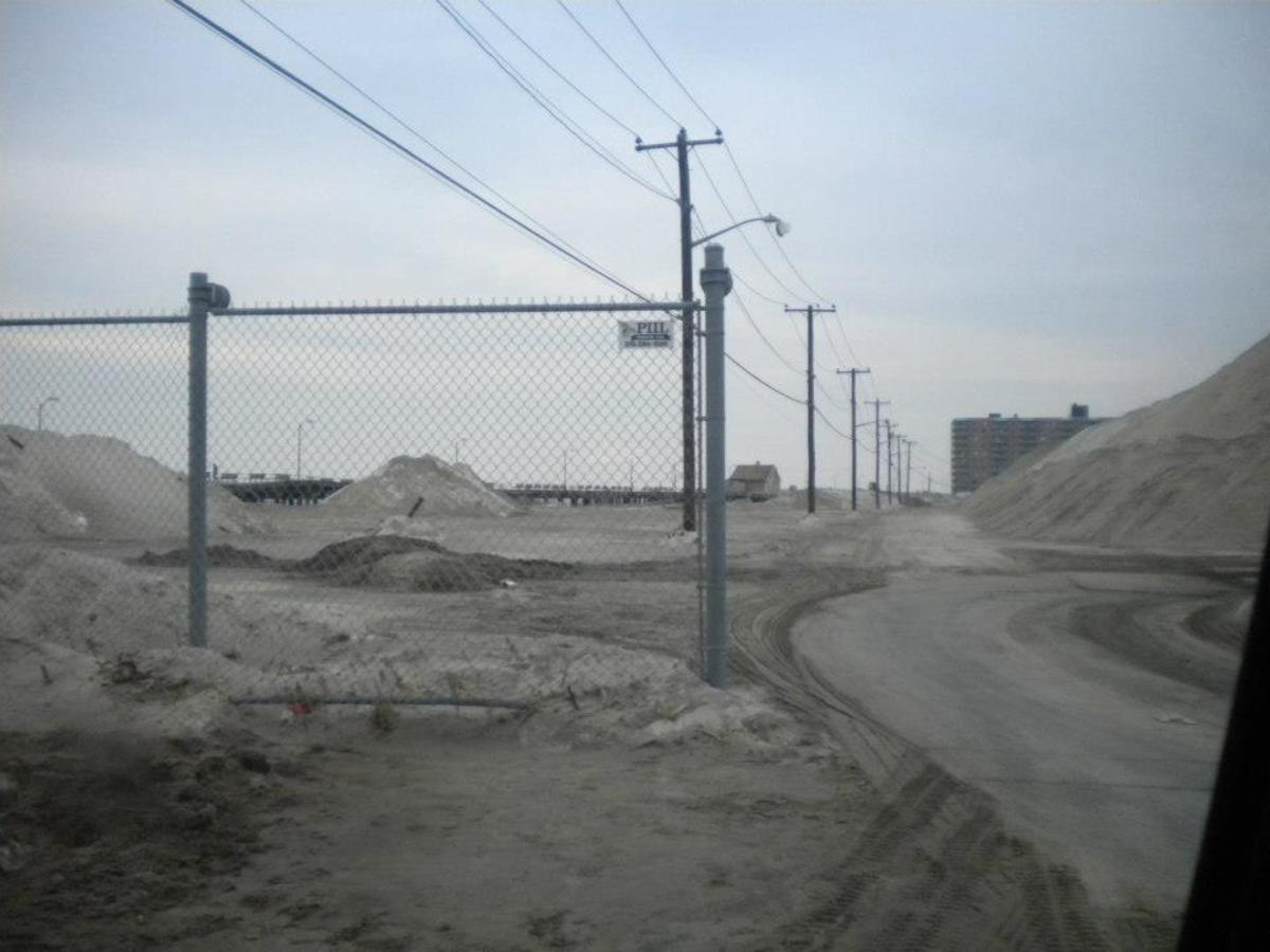 Sand covered the streets in Long Beach, New York from Super Storm Sandy