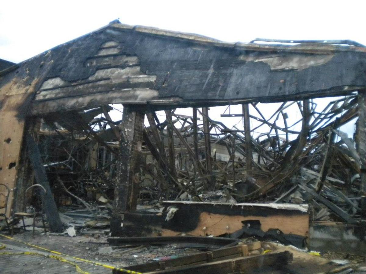 A fire during the storm destroyed a restaurant in Freeport, NY. Super Storm Sandy prevented firefighters from getting there.