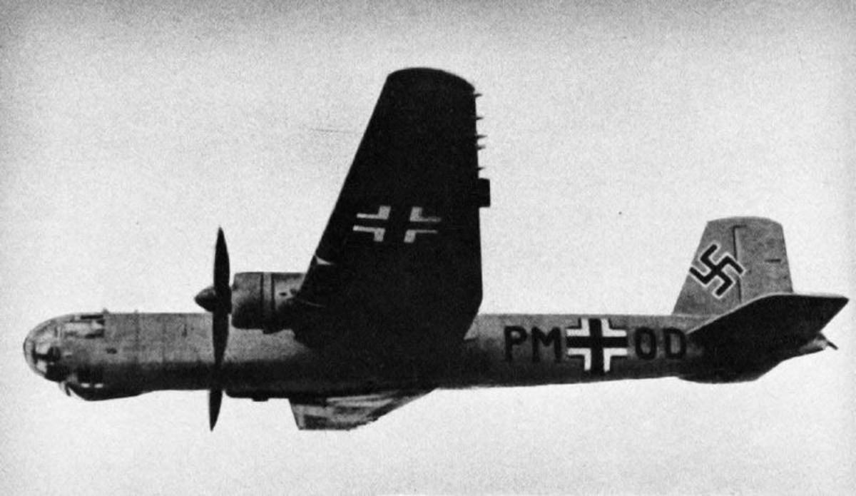 World War Two: Heinkel He 177 German heavy bomber. Circa 1943.