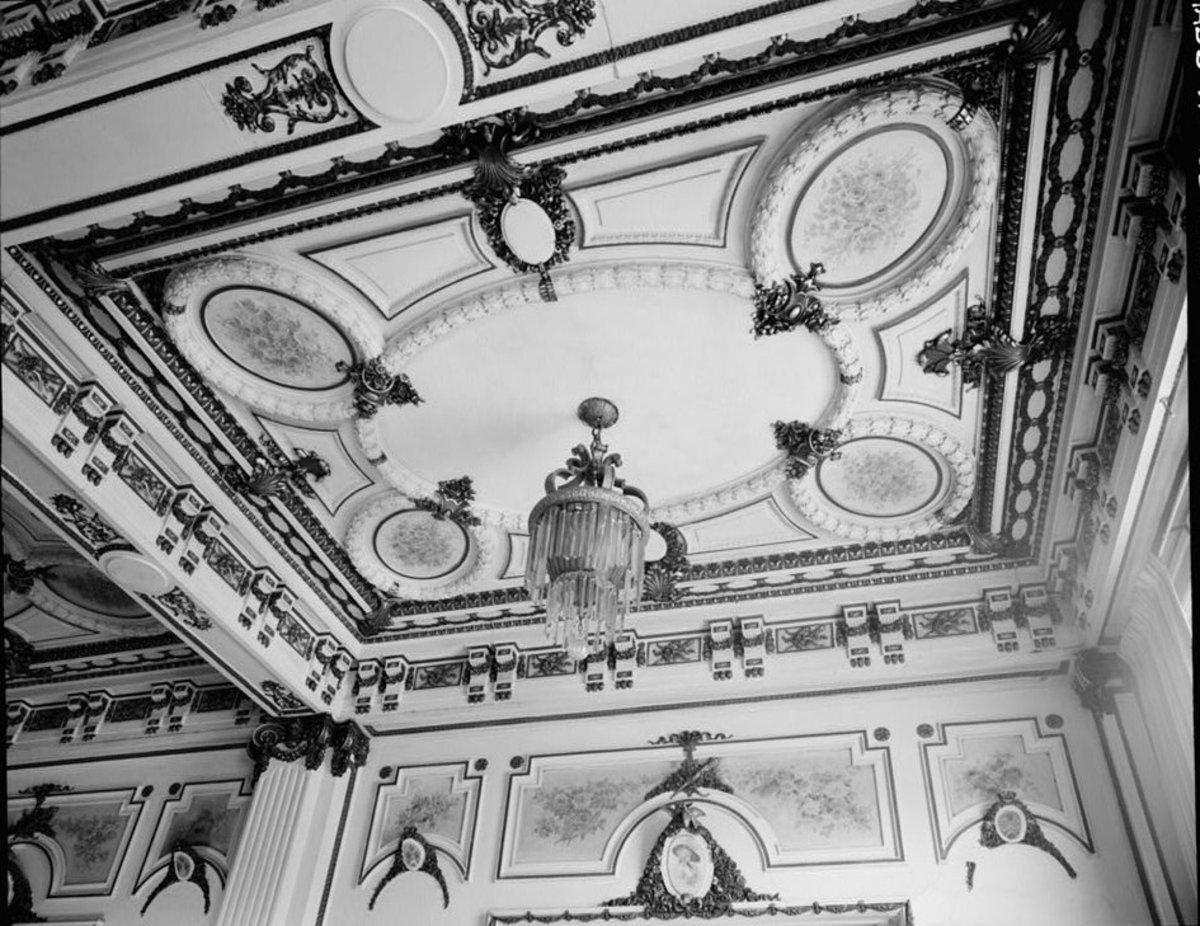 The ornate ceilings and chandeliers of the Plaza Hotel as seen in 1964.