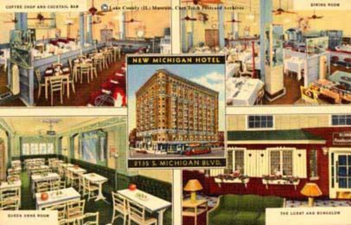 Circa 1940 postcard for New Michigan Hotel.