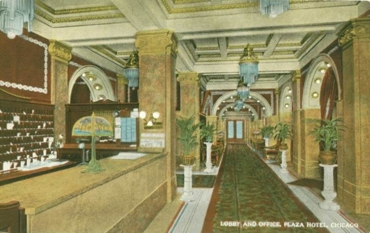 Postcard of Plaza Hotel lobby, circa 1915.