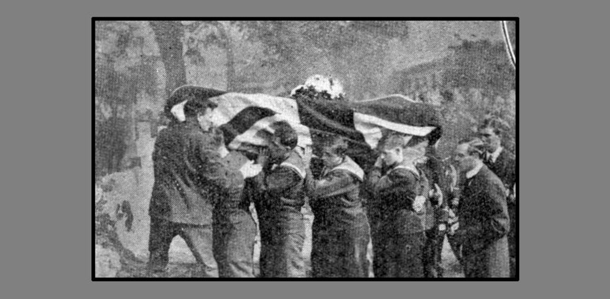"WW1: Pall-bearers from the Royal Naval Division carrying the coffin of Lieutenant R.A.J. Warneford, VC. ""Honoured by the King; admired by the Empire; mourned by all."""