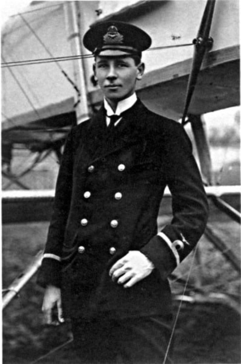 "WWI: Portrait of 23-year-old Flight Sub-Lieutenant R.A.J. (""Rex"") Warneford VC (1891-1915). Photo taken 17 February 1915."
