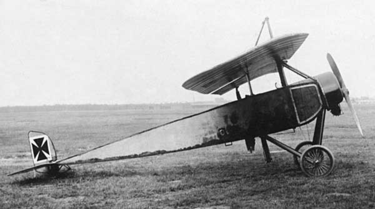 "WW1: A captured Moran-Saulnier Type l (note the German insigna). It was a ""parasol"" monoplane (a single-wing above the fuselage)."
