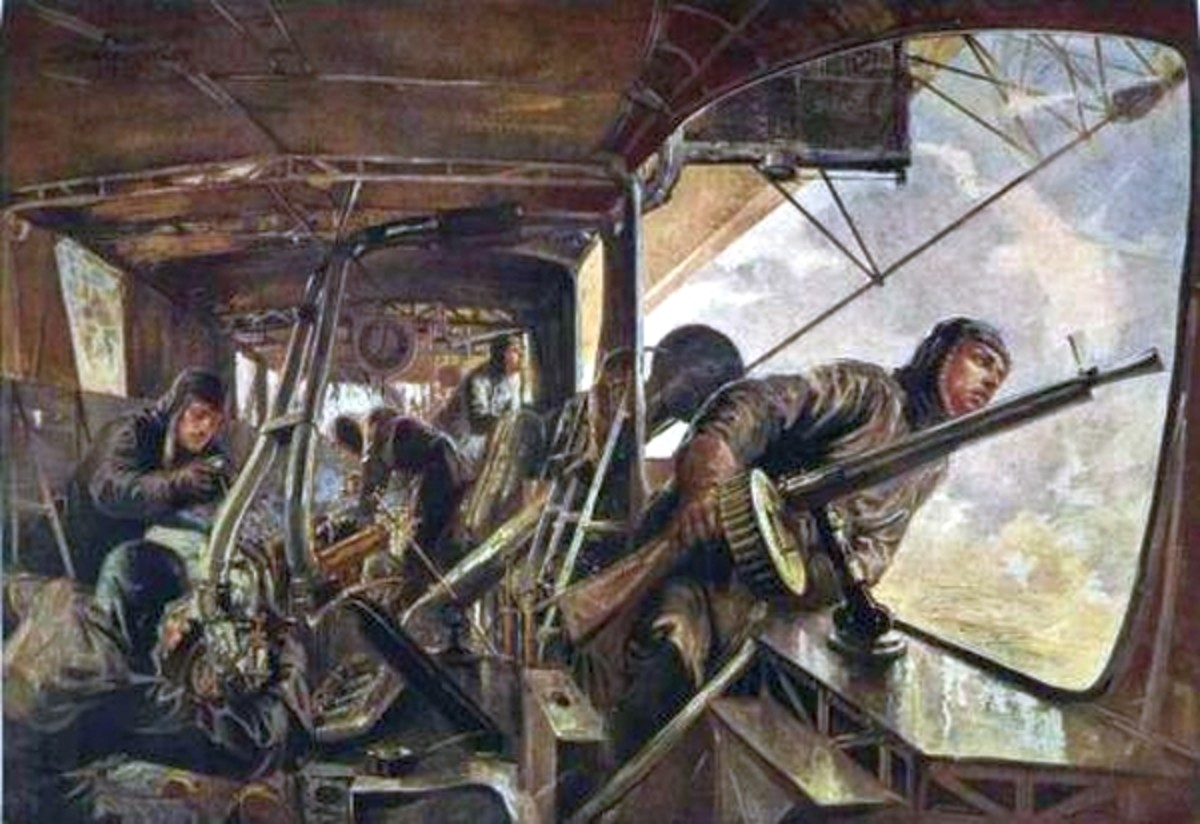 WWI: Engine gondola of a Zeppelin airship. Painting by Felix Schwormstädt (1870–1938).
