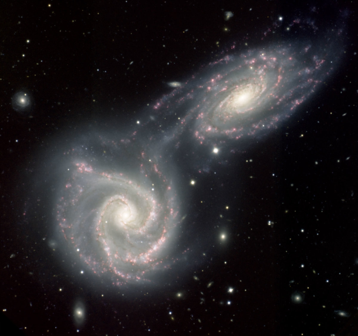 Two colliding galaxies.