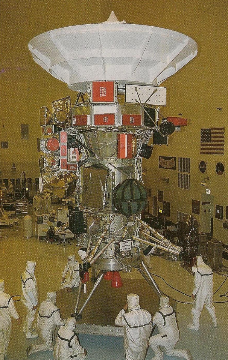 The Cassini-Huygens probe being prepped for launch.