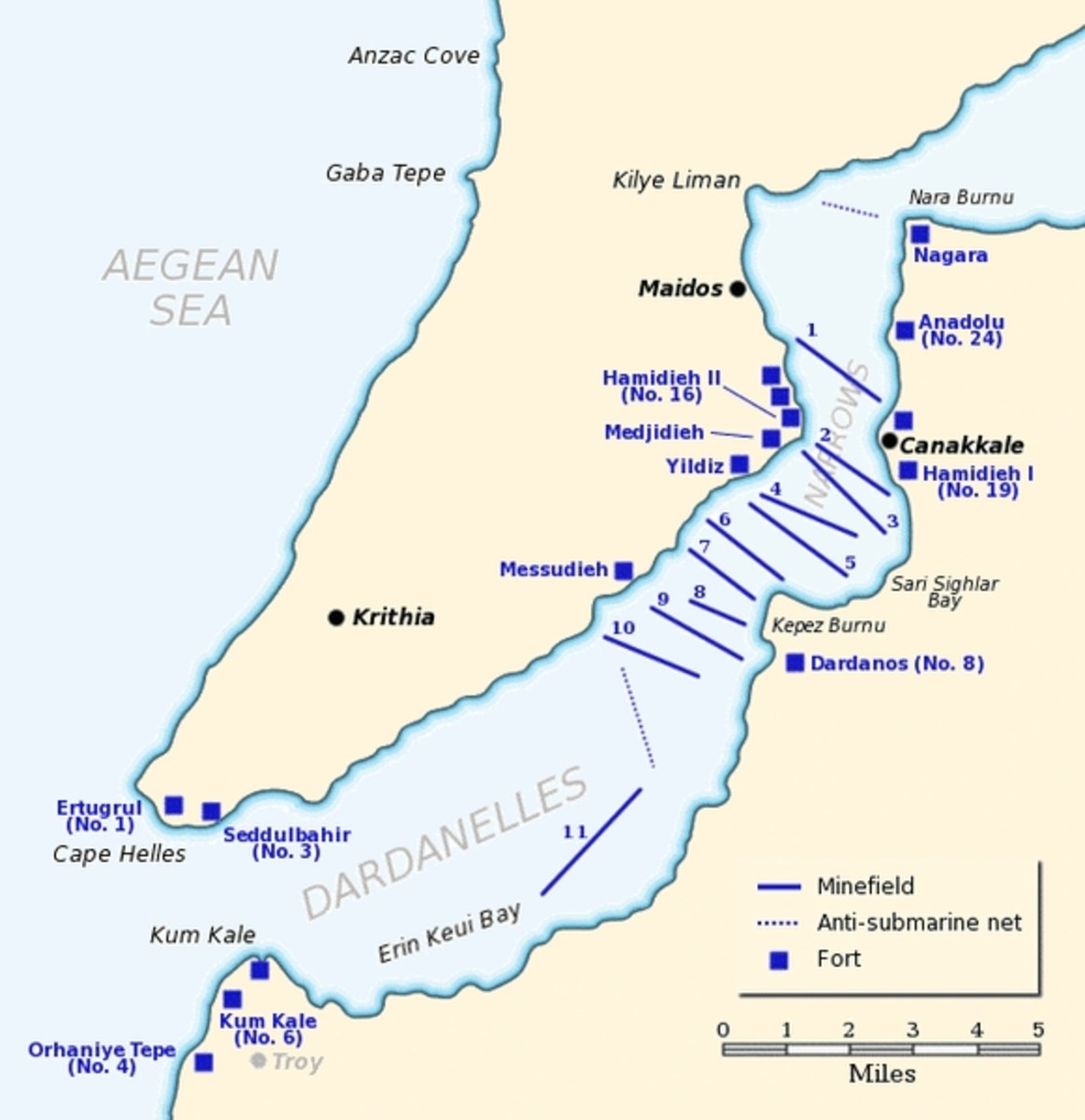 WWI: Map of the Dardanelles defences in February and March, 1915. Minefield #11 was laid by Nusret on March 8, 1915.