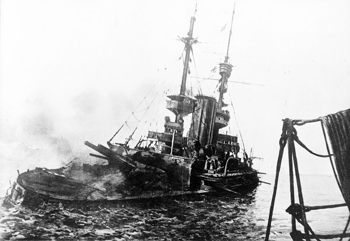 WWI: British battleship HMS Irresistible abandoned and sinking, 18 March 1915, during the Battle of Gallipoli.