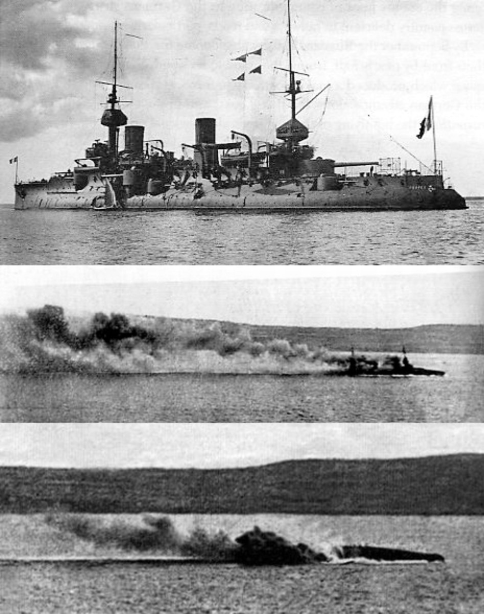 WW1: French battleship Bouvet (top); Just after striking mine in Dardanelles (middle); Capsized 2 minutes later (bottom)