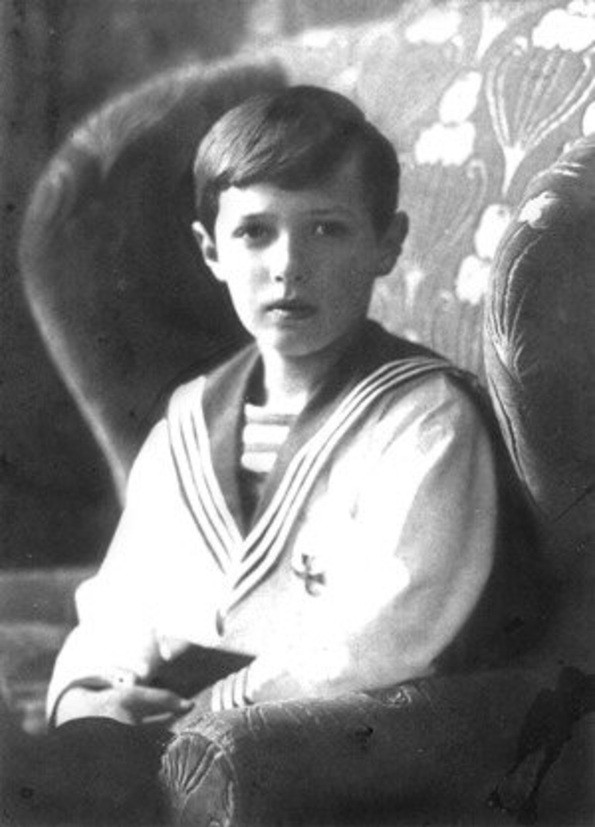 Alexei Nikolaevich, son of Nicholas II, the last Tsar of Russia. He was a hemophiliac, a trait that came from his great-grandmother, England's Queen Victoria.