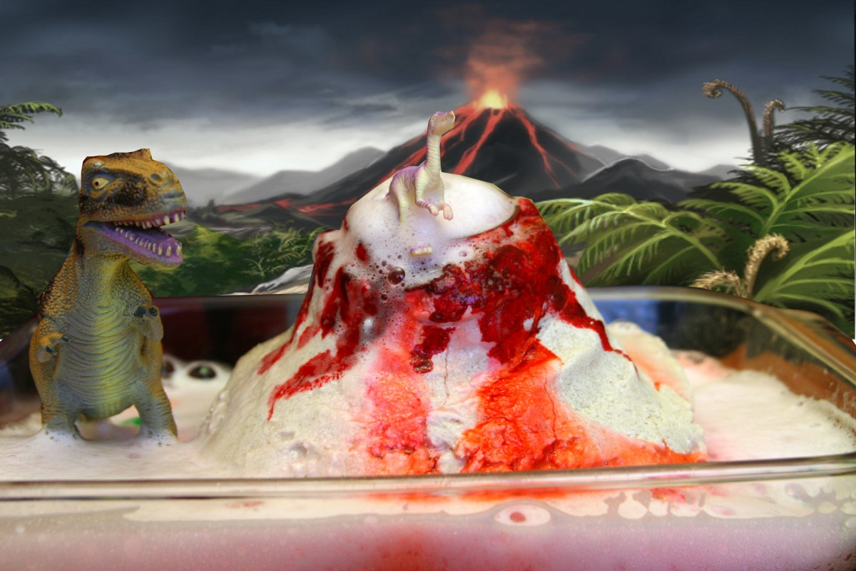 Make a volcano out of salt dough, add baking soda and vinegar, and watch the eruption occur!