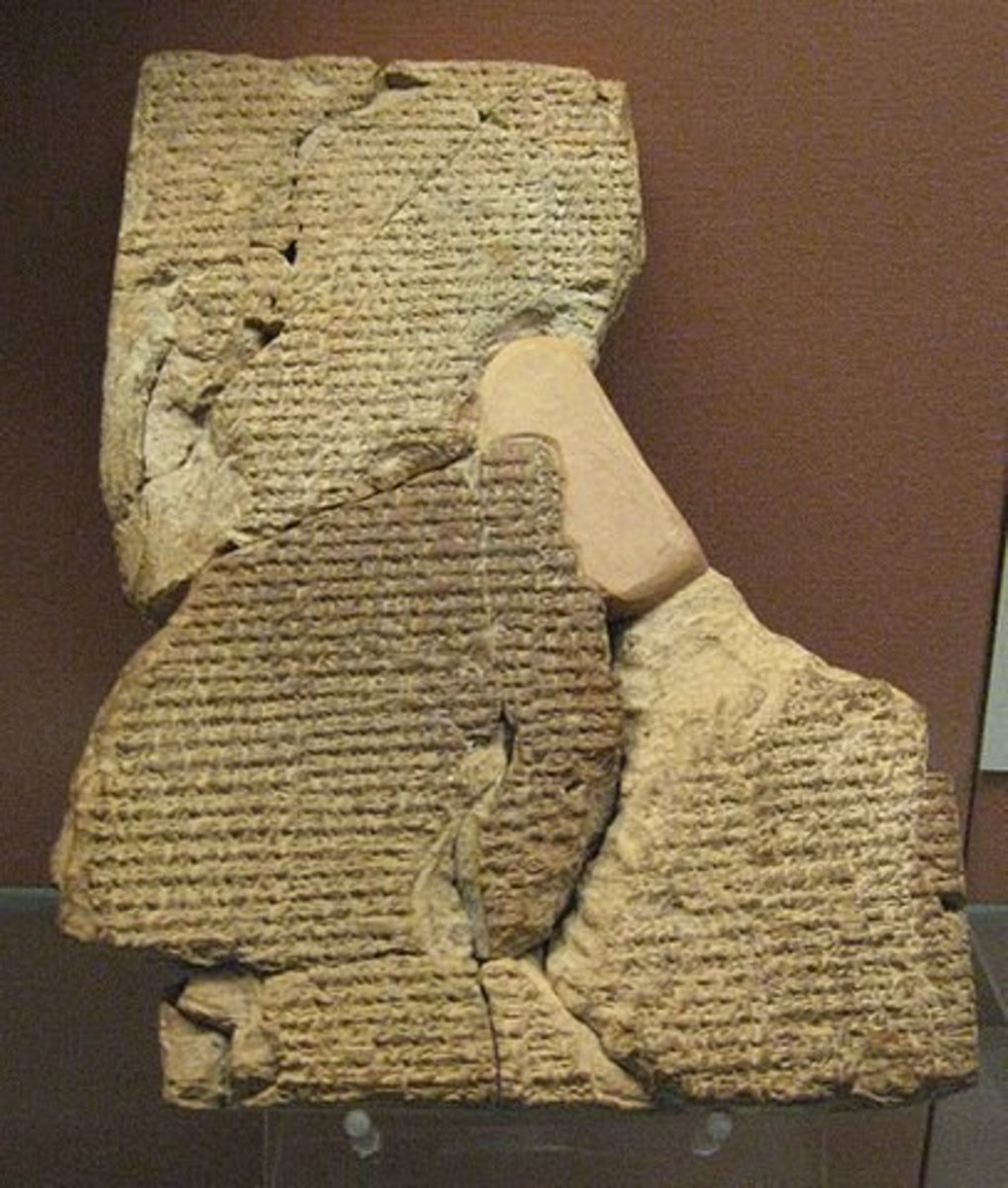 The epic of Atrahasis was written on clay tablets in the cuneiform writing style of Sumer.
