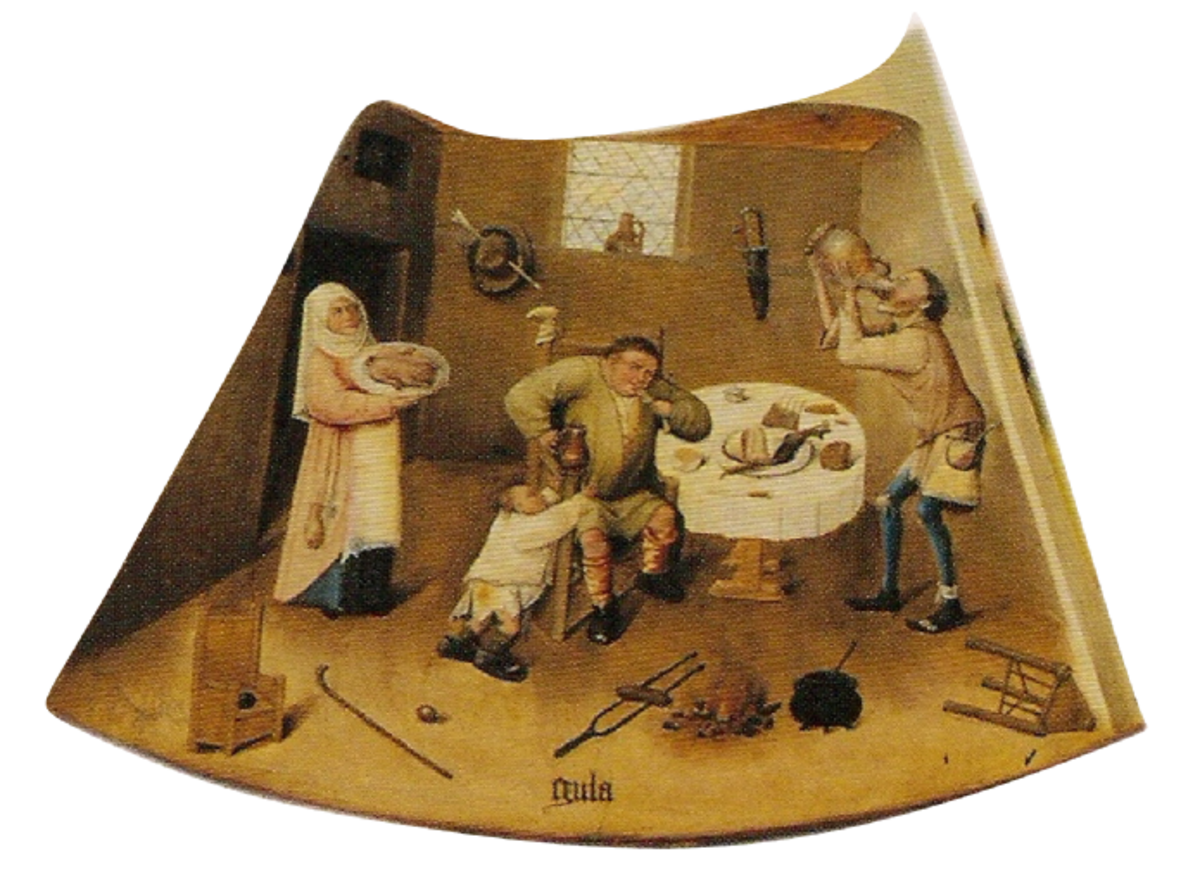 Gluttony is depicted as a family eating too much while wasting perfectly good food.