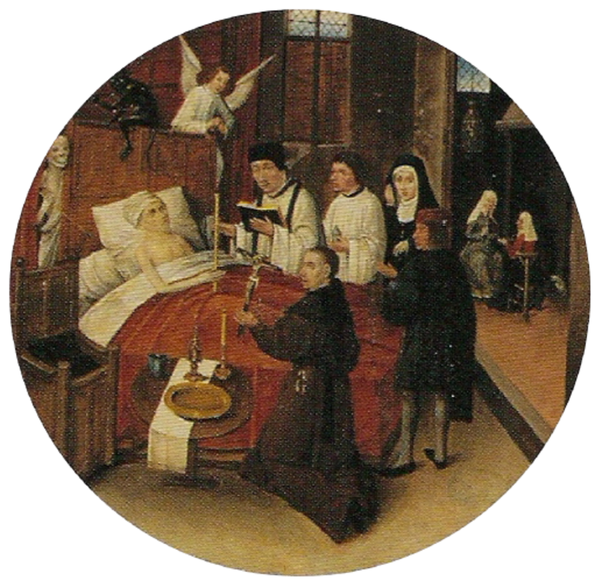 Last rites being performed on a patient's deathbed.