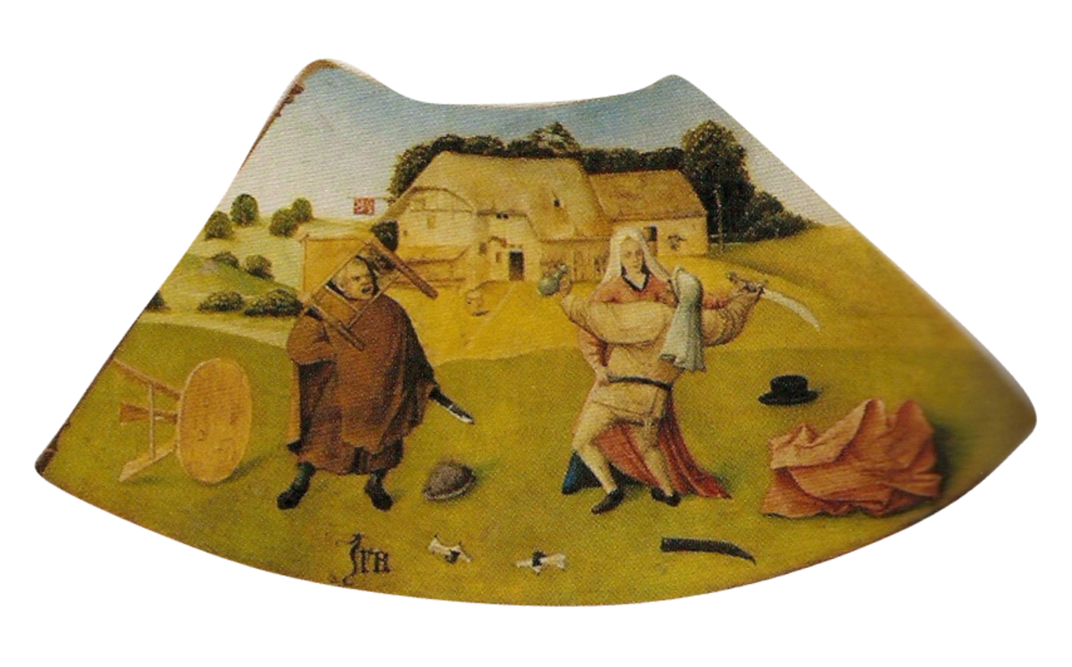 Wrath depicted as an argument between neighbors—with swords.