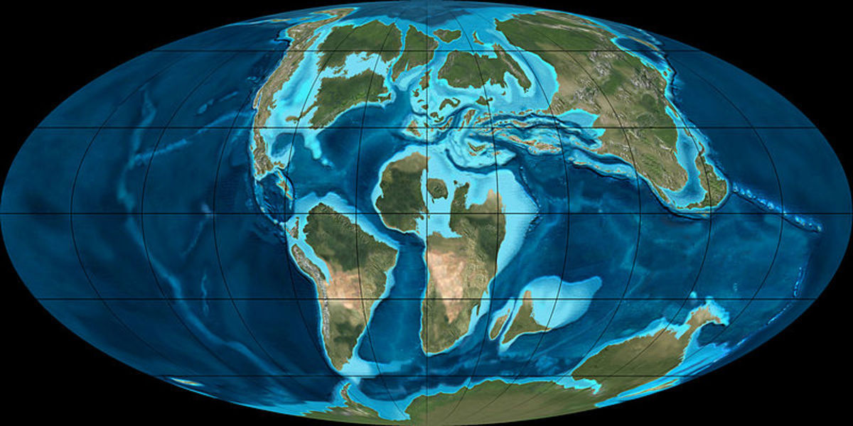 The position of the Earth's continents during the Cretaceous Period.