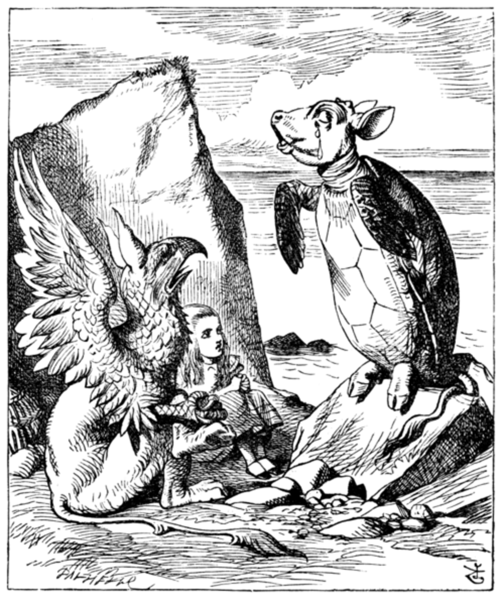 Alice gets a lesson from the Gryphon and Mock turtle