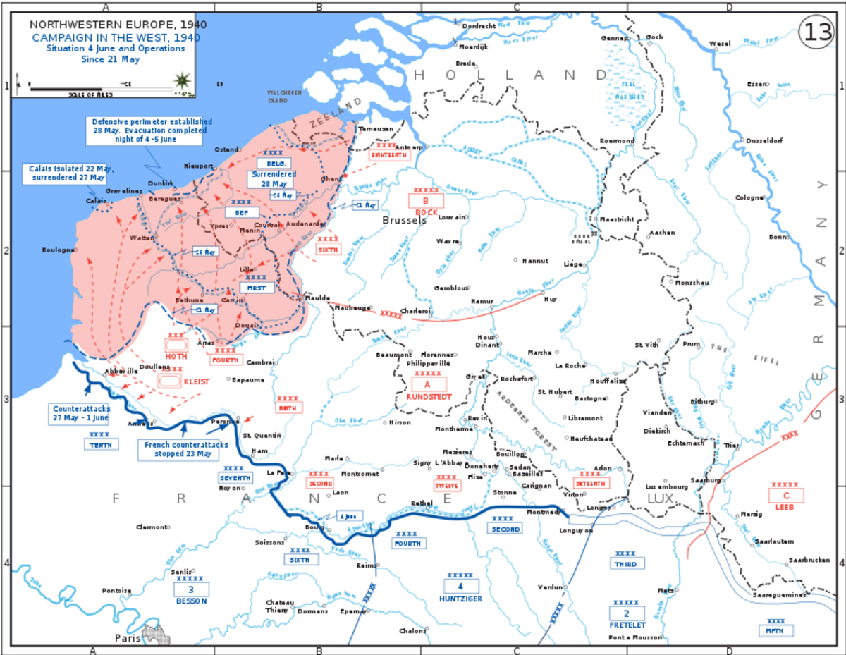A map showing the positions of both the Allies and the Germans just prior to the battle of Dunkirk.
