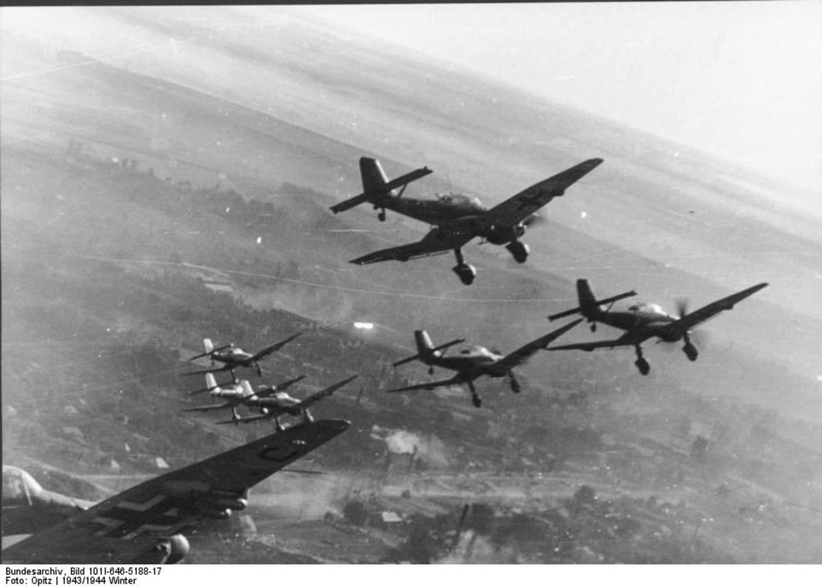 The Ju-87 Stuka dive bomber was used extensively as support for advancing troops in Blitzkrieg.