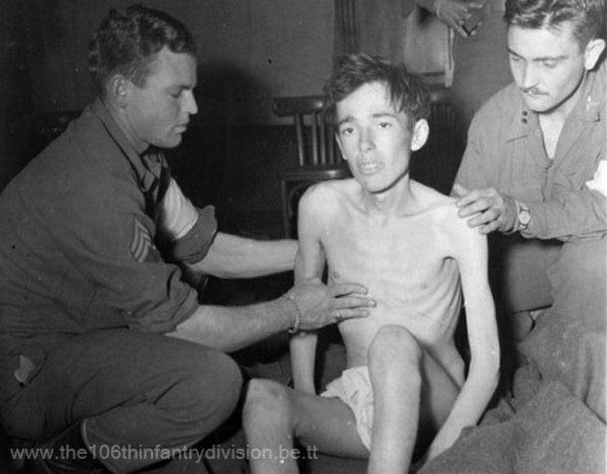 Pvt. James Watkins (423 IR) after liberation from Stalag 9B.