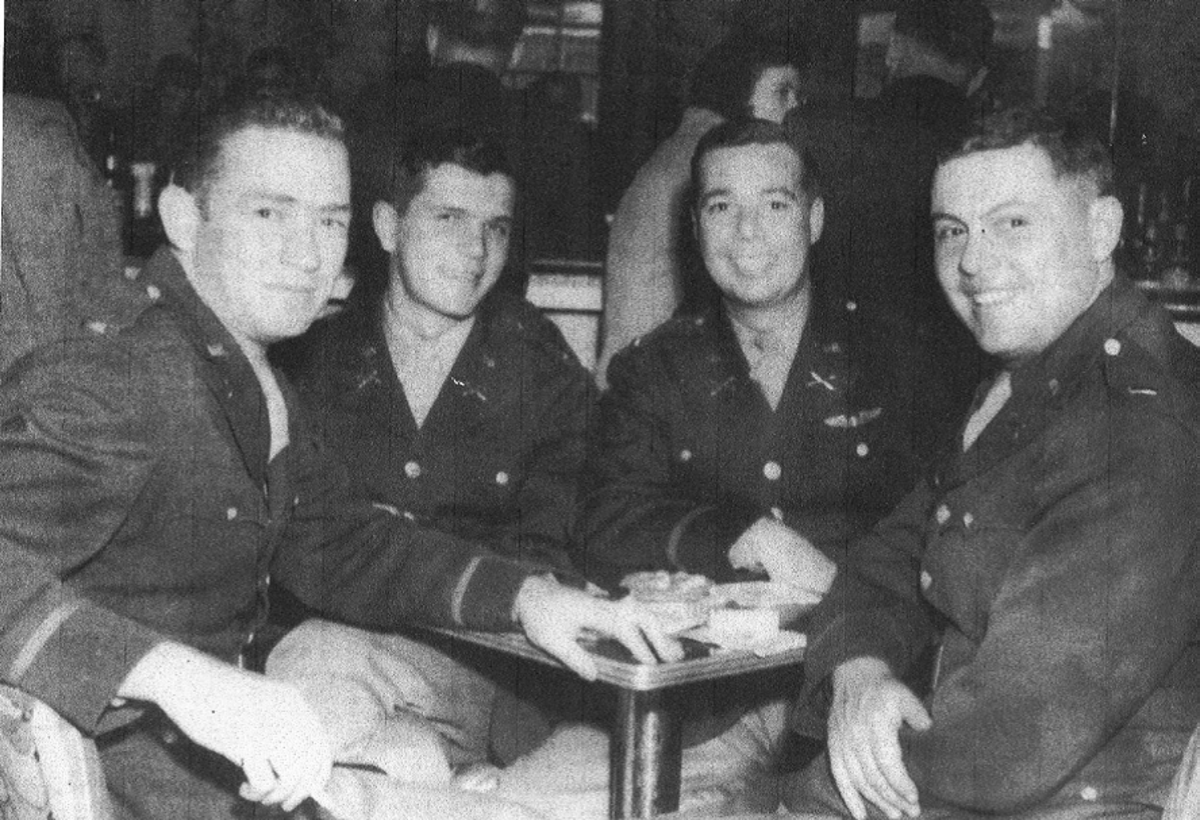 Officers of the 589th FAB (L-R): Lt. Francis O'Toole, Lt. Graham Cassibry, Lt. Earl Scott and Lt. Crowley. O'Toole was killed in an Allied bombing as a POW. Cassibry survived the war but committed suicide in 1964. Scott and Crowley also survived.