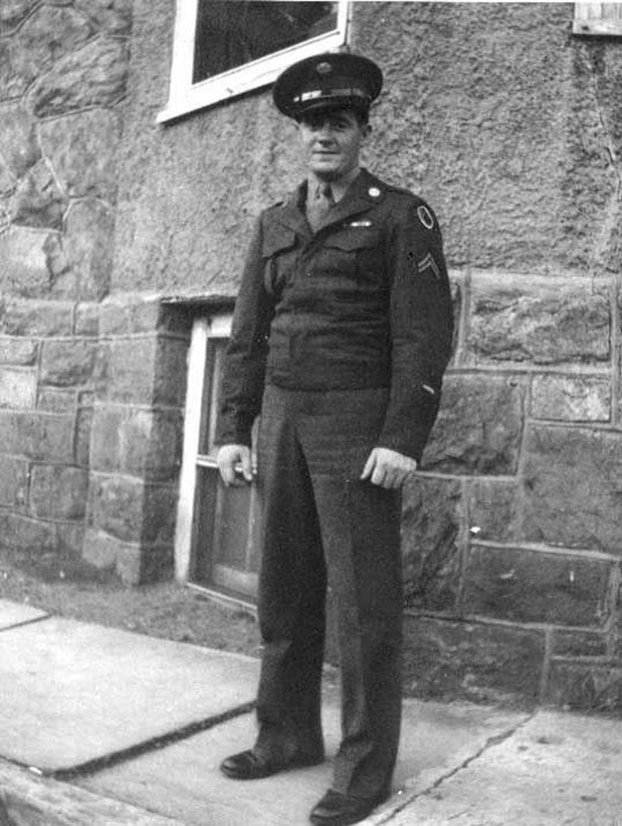 Cpl. John Gatens (1923-2015), A Battery, 589th FAB. After escaping the Schnee, he was captured at Baraque de Fraiture and survived four months captivity.