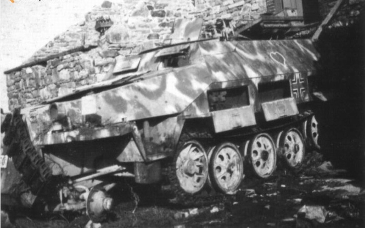 Destroyed German halftrack after the battle at Baraque de Fraiture.
