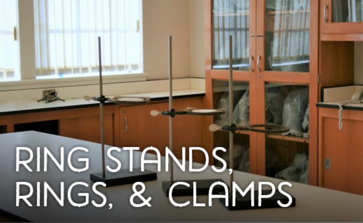 Ring stands with rings attached
