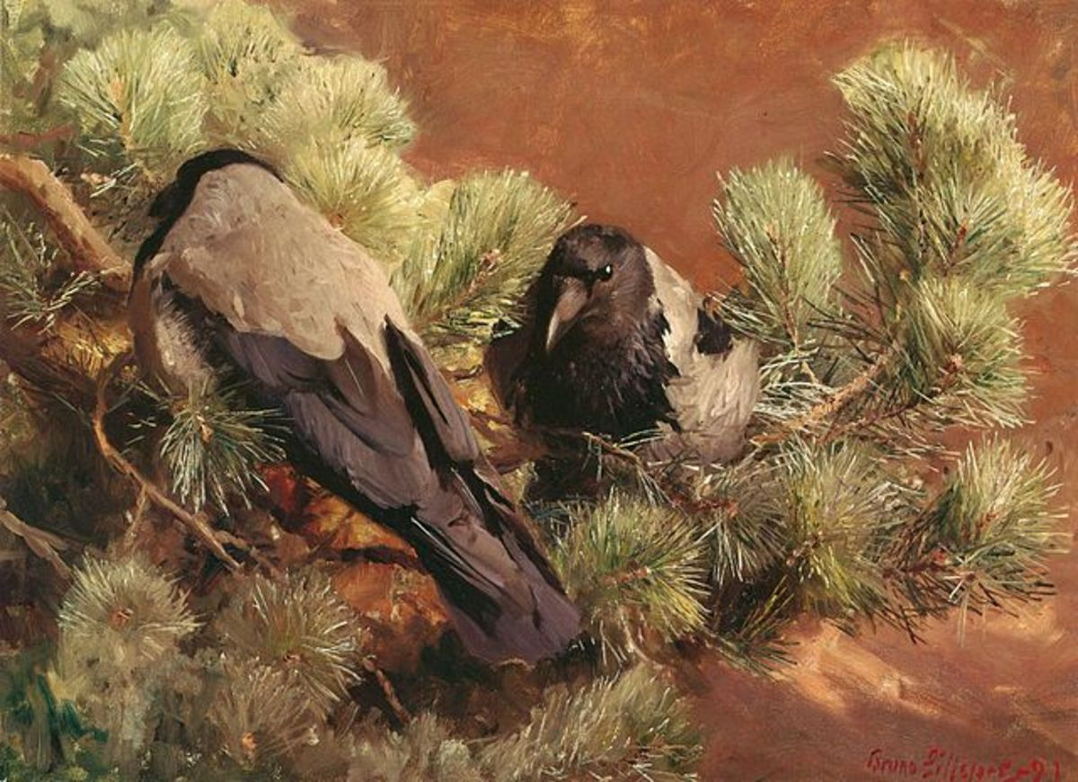 "Bruno Liljefors's 1891 painting ""Hooded Crows"". This was one of the first of the wildlife paintings outside the scientific realm that continue to be made today."