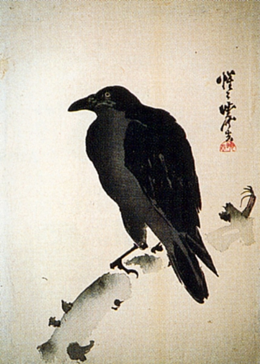 Crow painting by Kawanabe Kyosai (1831-1889).