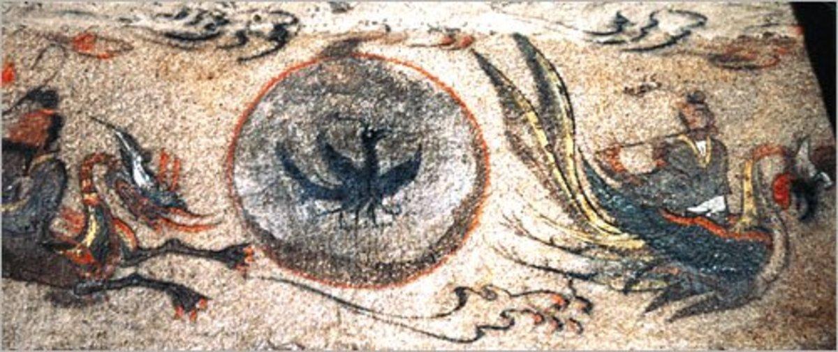 A Samjokgo (legendary three-legged crow) mural on the wall of a Goguryeo tomb.
