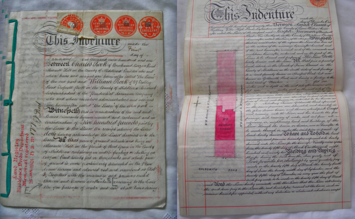 The indenture on the right shows a plan of the property