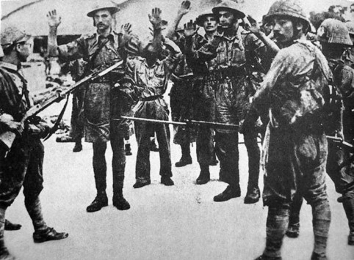 British Soldiers surrendering at Singapore.