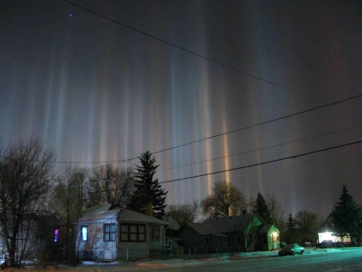Light pillars over Laramie Wyoming on a winter night