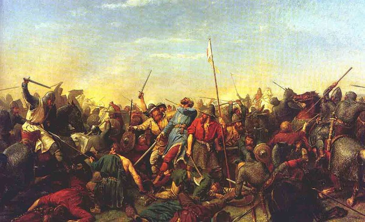A painting of the battle of Stamford Bridge showing Norwegian King Harold Hardrada being hit in the neck with an arrow.