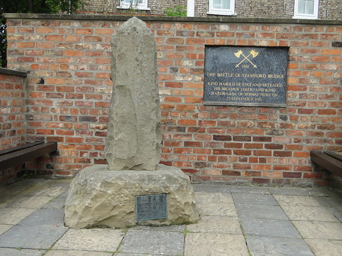 A plaque commemorating the battle located in Stamford Bridge, Yorkshire.