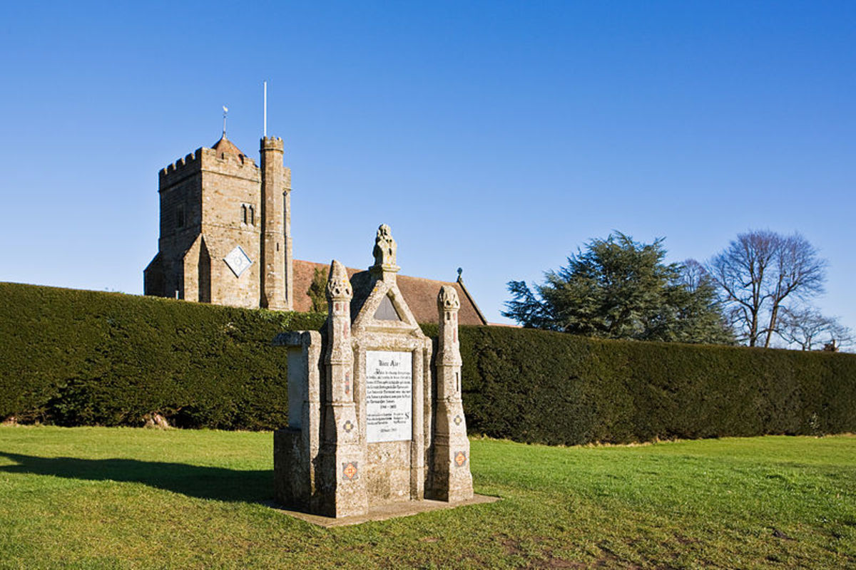 Battle Abbey was built on the site of the battle by the Normans. In the foreground is a plaque dedicated to Harold, which incidentally was erected on the site where he supposedly fell.