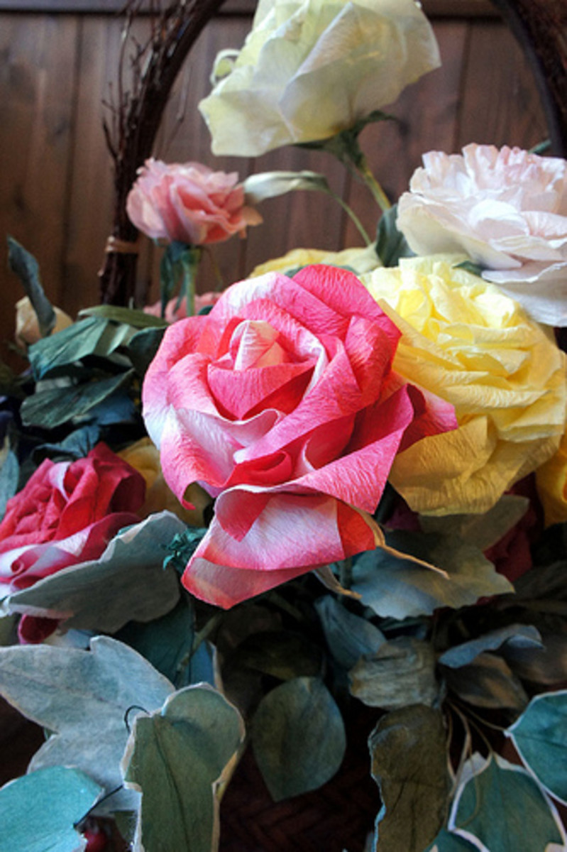 In Japan, paper has been used for centuries not just for writing on but for making things, such as these beautiful artificial roses.