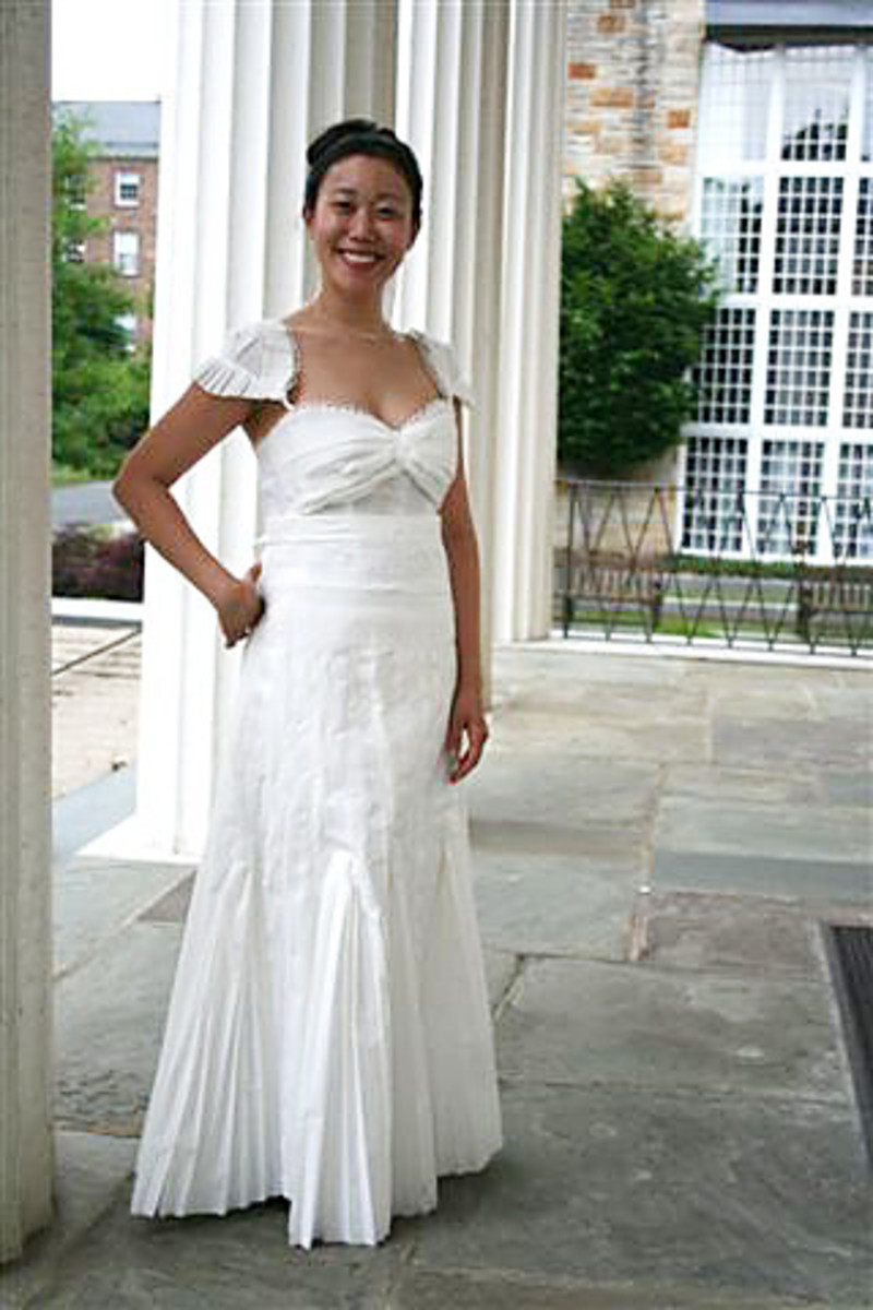 This elegant wedding gown is made entirely from toilet paper!